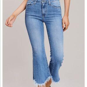 Just black jeans. Frayed crop flare blue jeans.